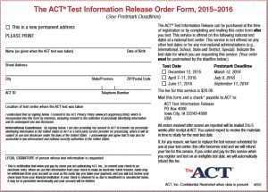 ACT Test Release Form